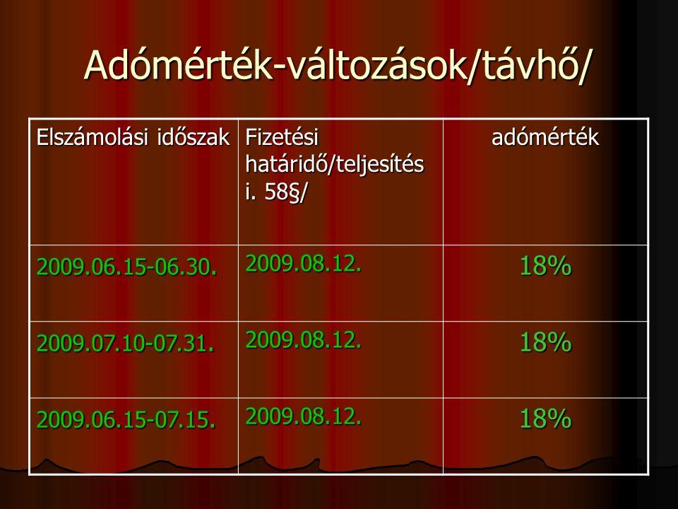 Adómérték-változások/távhő/ Elszámolási időszak Fizetési határidő/teljesítés i.