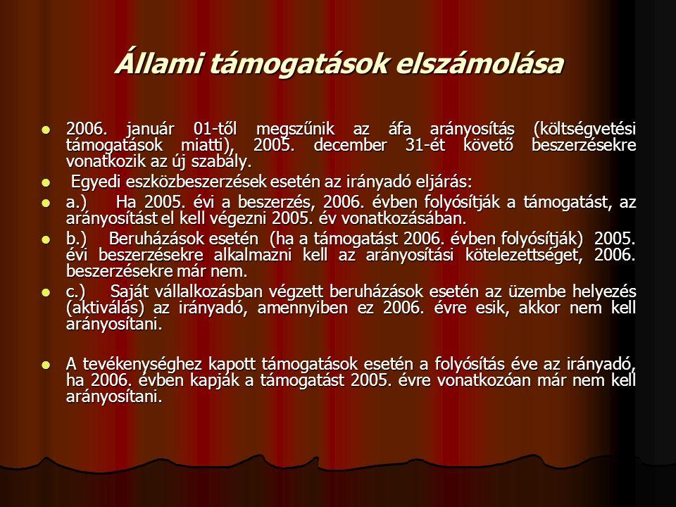 Állami támogatások elszámolása 2006.