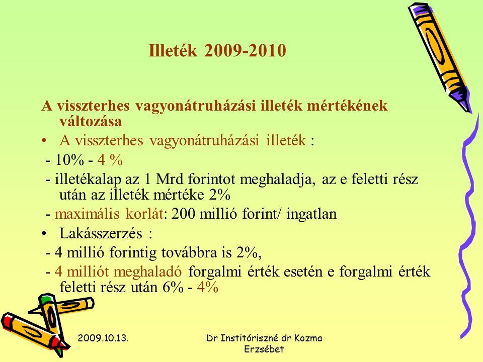 2009.10.13.Dr Institóriszné dr Kozma Erzsébet Illeték 2009-2010 A visszterhes vagyonátruházási illeték mértékének változása A visszterhes vagyonátruházási illeték : - 10% - 4 % - illetékalap az 1 Mrd forintot meghaladja, az e feletti rész után az illeték mértéke 2% - maximális korlát: 200 millió forint/ ingatlan Lakásszerzés : - 4 millió forintig továbbra is 2%, - 4 milliót meghaladó forgalmi érték esetén e forgalmi érték feletti rész után 6% - 4%