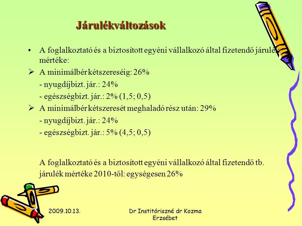 2009.10.13.Dr Institóriszné dr Kozma Erzsébet Járulékváltozások A foglalkoztató és a biztosított egyéni vállalkozó által fizetendő járulék mértéke:  A minimálbér kétszereséig: 26% - nyugdíjbizt.