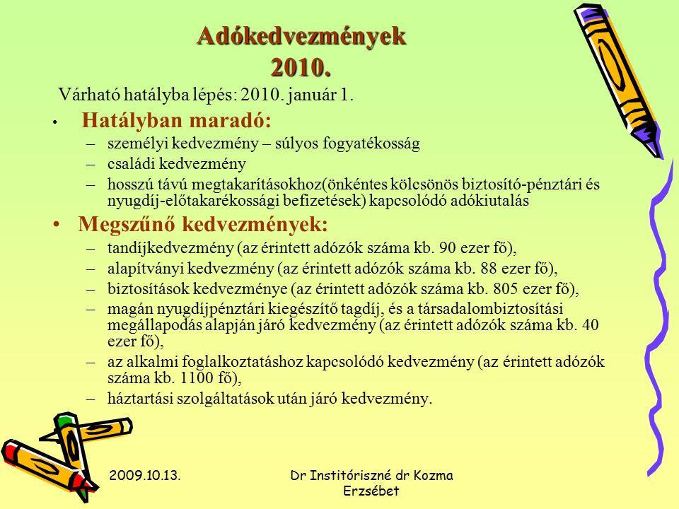 2009.10.13.Dr Institóriszné dr Kozma Erzsébet Adómentes és kedvezményes adókulccsal adózó juttatások Várható hatályba lépés: 2010.
