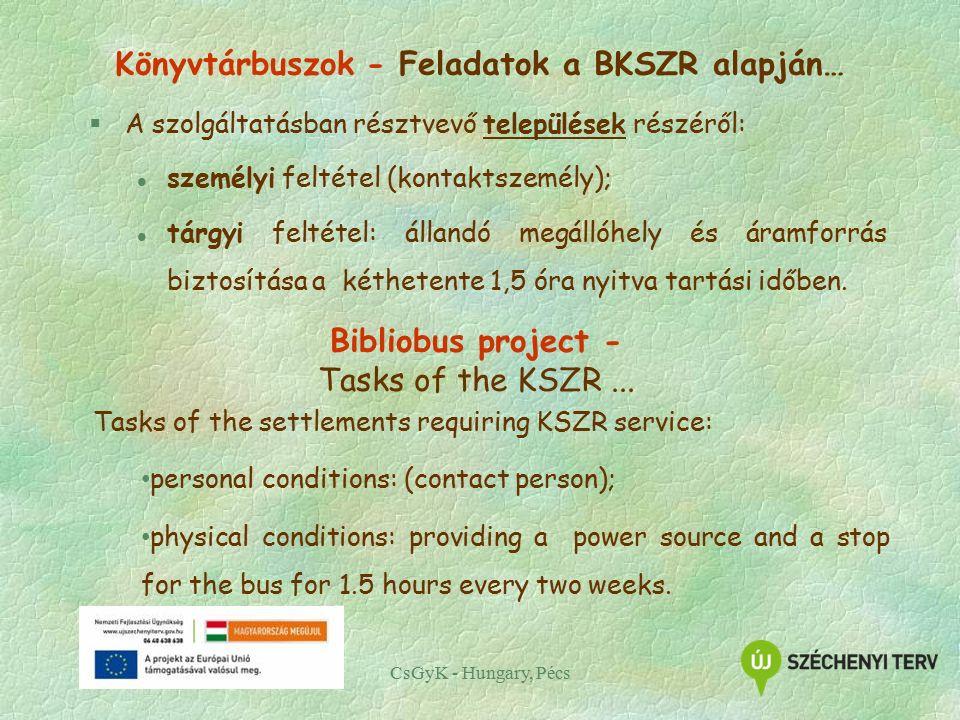 CsGyK - Hungary, Pécs Könyvtárbuszok - Feladatok a BKSZR alapján… §A szolgáltatásban résztvevő települések részéről: l személyi feltétel (kontaktszemély); l tárgyi feltétel: állandó megállóhely és áramforrás biztosítása a kéthetente 1,5 óra nyitva tartási időben.