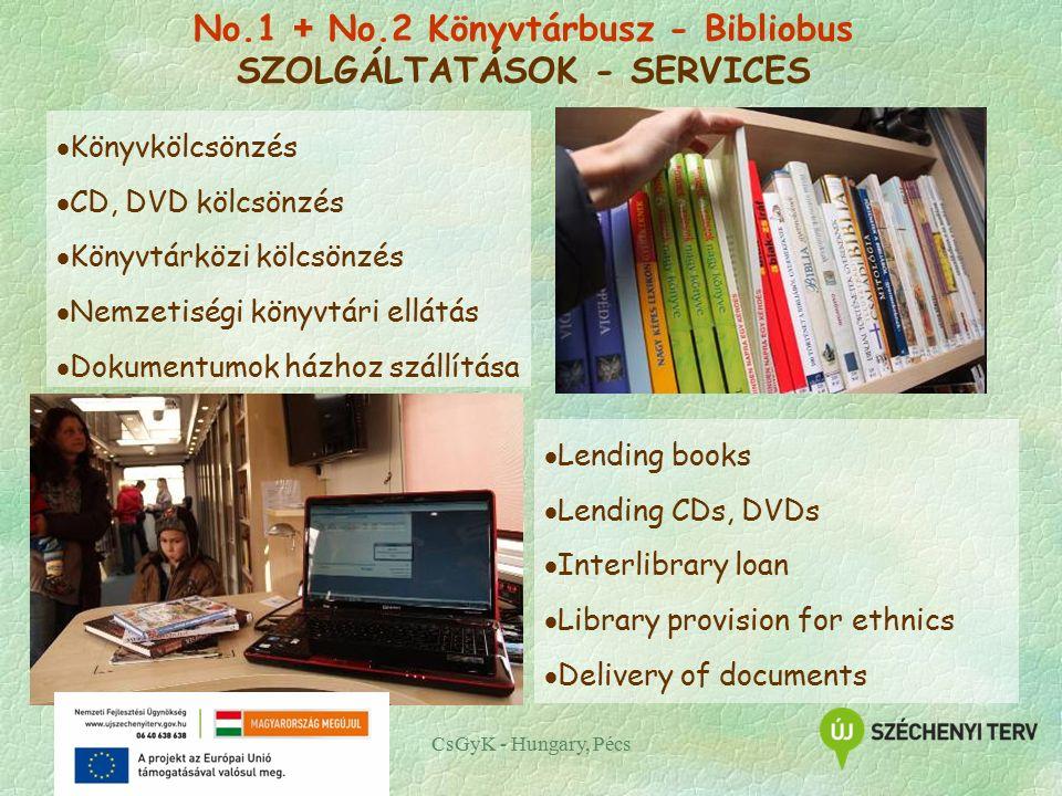 CsGyK - Hungary, Pécs  Könyvkölcsönzés  CD, DVD kölcsönzés  Könyvtárközi kölcsönzés  Nemzetiségi könyvtári ellátás  Dokumentumok házhoz szállítása  Lending books  Lending CDs, DVDs  Interlibrary loan  Library provision for ethnics  Delivery of documents No.1 + No.2 Könyvtárbusz - Bibliobus SZOLGÁLTATÁSOK - SERVICES