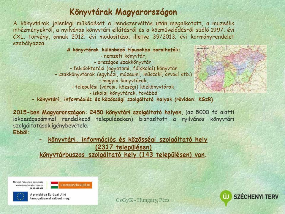 CsGyK - Hungary, Pécs Könyvtárak Magyarországon A könyvtárak jelenlegi működését a rendszerváltás után megalkotott, a muzeális intézményekről, a nyilvános könyvtári ellátásról és a közművelődésről szóló 1997.