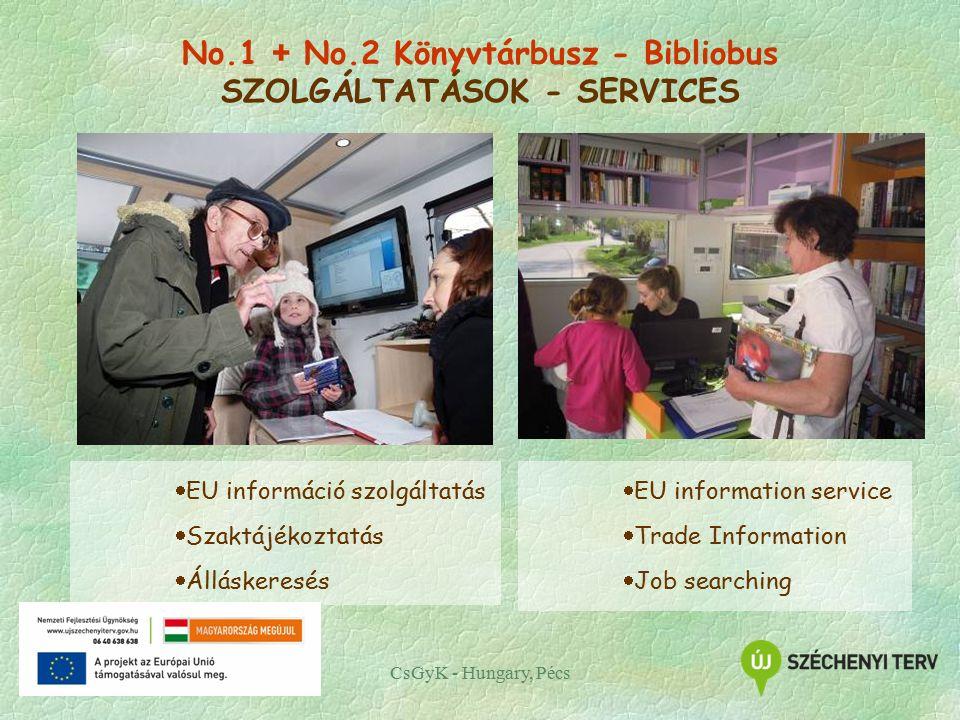 CsGyK - Hungary, Pécs  EU információ szolgáltatás  Szaktájékoztatás  Álláskeresés  EU information service  Trade Information  Job searching No.1 + No.2 Könyvtárbusz - Bibliobus SZOLGÁLTATÁSOK - SERVICES
