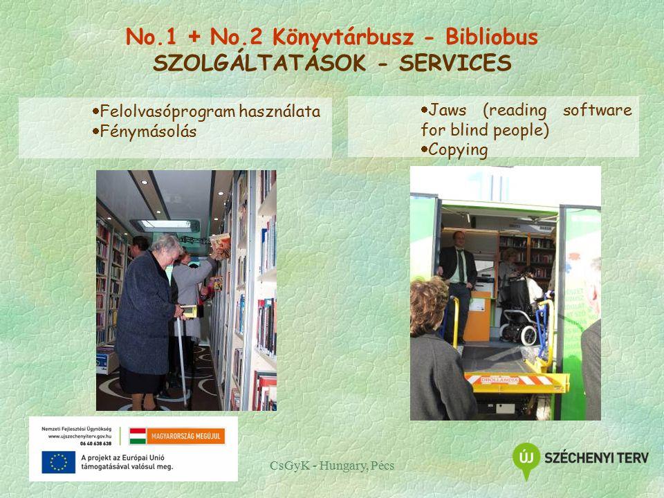 CsGyK - Hungary, Pécs  Felolvasóprogram használata  Fénymásolás  Jaws (reading software for blind people)  Copying No.1 + No.2 Könyvtárbusz - Bibliobus SZOLGÁLTATÁSOK - SERVICES