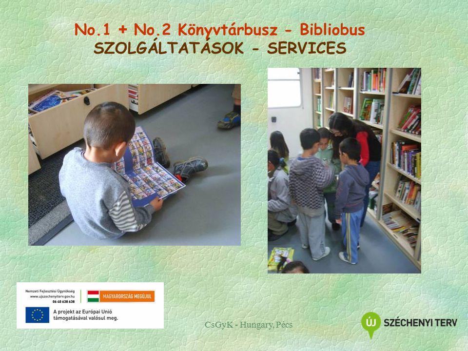 CsGyK - Hungary, Pécs No.1 + No.2 Könyvtárbusz - Bibliobus SZOLGÁLTATÁSOK - SERVICES