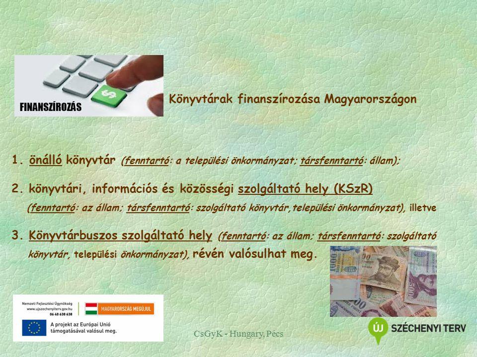 CsGyK - Hungary, Pécs Könyvtárak finanszírozása Magyarországon 1.önálló könyvtár (fenntartó: a települési önkormányzat; társfenntartó: állam); 2.