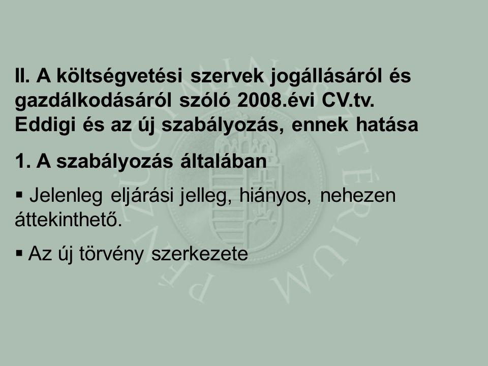 II. A költségvetési szervek jogállásáról és gazdálkodásáról szóló 2008.évi CV.tv.