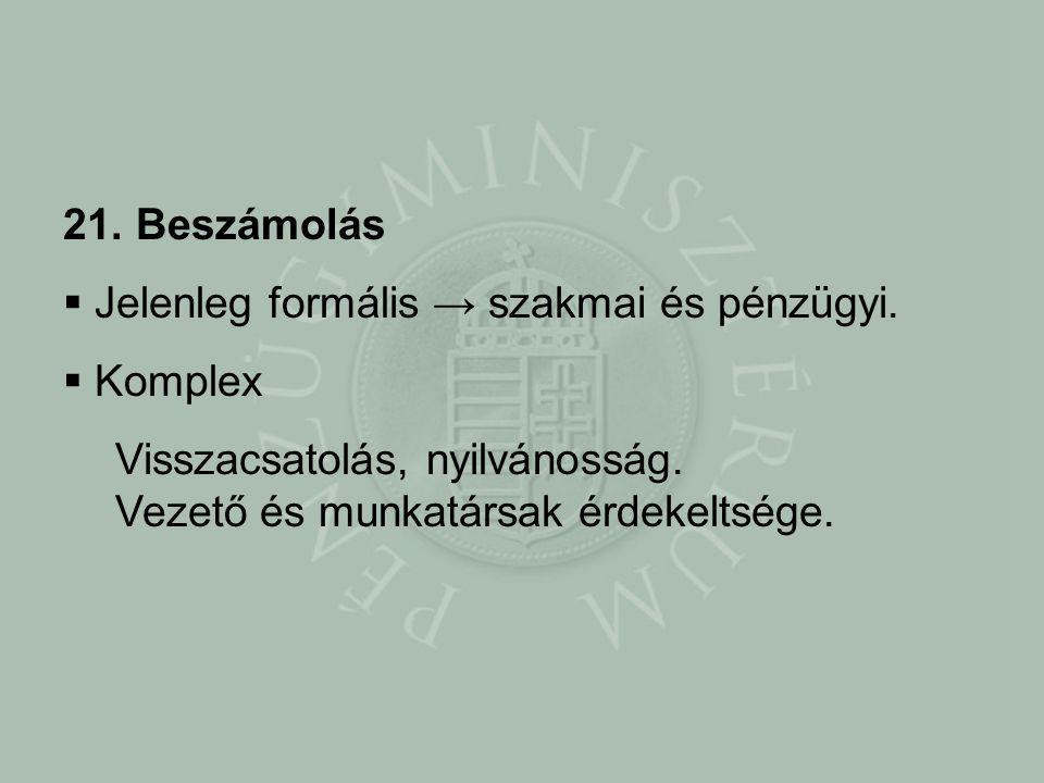 21. Beszámolás  Jelenleg formális → szakmai és pénzügyi.
