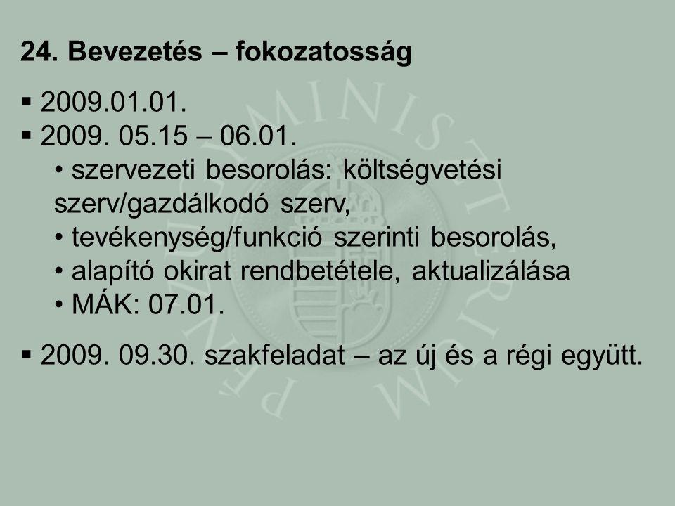 24. Bevezetés – fokozatosság  2009.01.01.  2009.