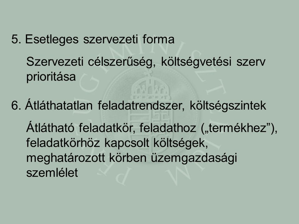 5. Esetleges szervezeti forma Szervezeti célszerűség, költségvetési szerv prioritása 6.