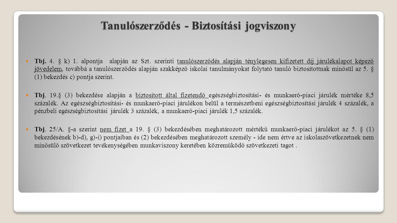 Tanulószerződés - Biztosítási jogviszony Tbj. 4. § k) 1.