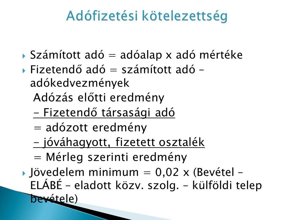  Számított adó = adóalap x adó mértéke  Fizetendő adó = számított adó – adókedvezmények Adózás előtti eredmény - Fizetendő társasági adó = adózott eredmény - jóváhagyott, fizetett osztalék = Mérleg szerinti eredmény  Jövedelem minimum = 0,02 x (Bevétel – ELÁBÉ – eladott közv.