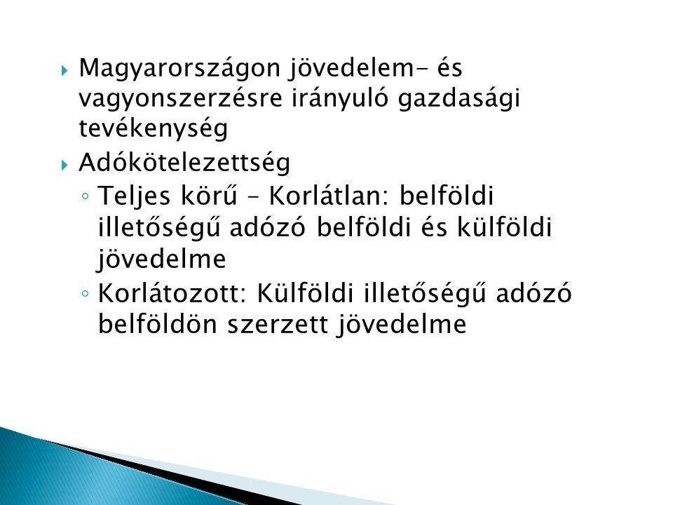  Magyarországon jövedelem- és vagyonszerzésre irányuló gazdasági tevékenység  Adókötelezettség ◦ Teljes körű – Korlátlan: belföldi illetőségű adózó belföldi és külföldi jövedelme ◦ Korlátozott: Külföldi illetőségű adózó belföldön szerzett jövedelme