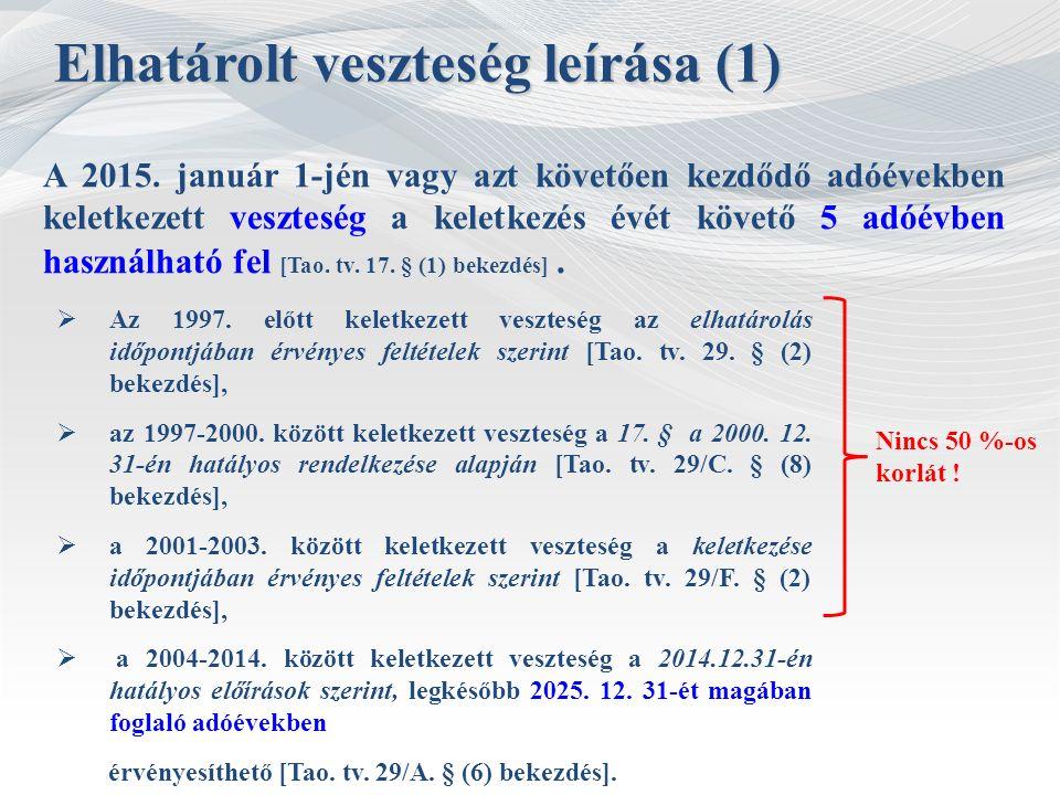 A 2015. január 1-jén vagy azt követően kezdődő adóévekben keletkezett veszteség a keletkezés évét követő 5 adóévben használható fel [Tao. tv. 17. § (1