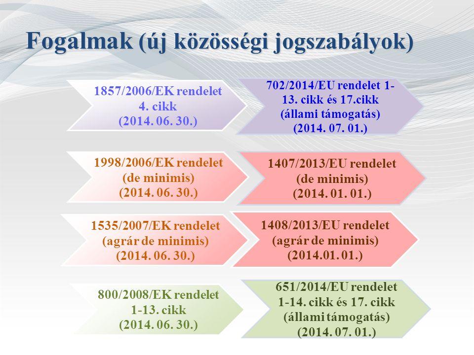 Fogalmak (új közösségi jogszabályok) 1857/2006/EK rendelet 4. cikk (2014. 06. 30.) 702/2014/EU rendelet 1- 13. cikk és 17.cikk (állami támogatás) (201