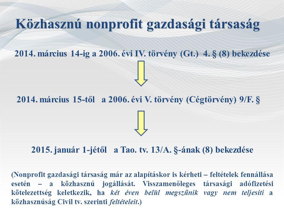 2014. március 14-ig a 2006. évi IV. törvény (Gt.) 4. § (8) bekezdése Közhasznú nonprofit gazdasági társaság 2014. március 15-től a 2006. évi V. törvén