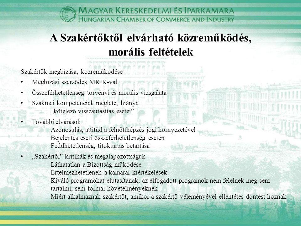 A Szakértőktől elvárható közreműködés, morális feltételek Szakértők megbízása, közreműködése Megbízási szerződés MKIK-val Összeférhetetlenség törvényi