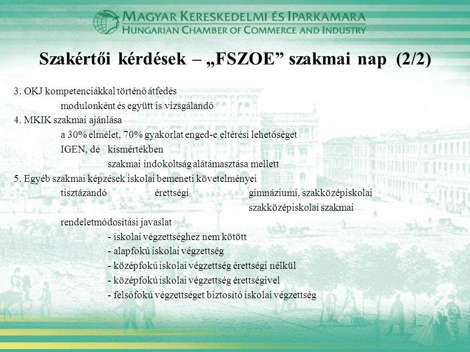 """Szakértői kérdések – """"FSZOE"""" szakmai nap (2/2) 3. OKJ kompetenciákkal történő átfedés modulonként és együtt is vizsgálandó 4. MKIK szakmai ajánlása a"""