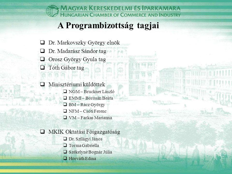 A Programbizottság tagjai  Dr. Markovszky György elnök  Dr.
