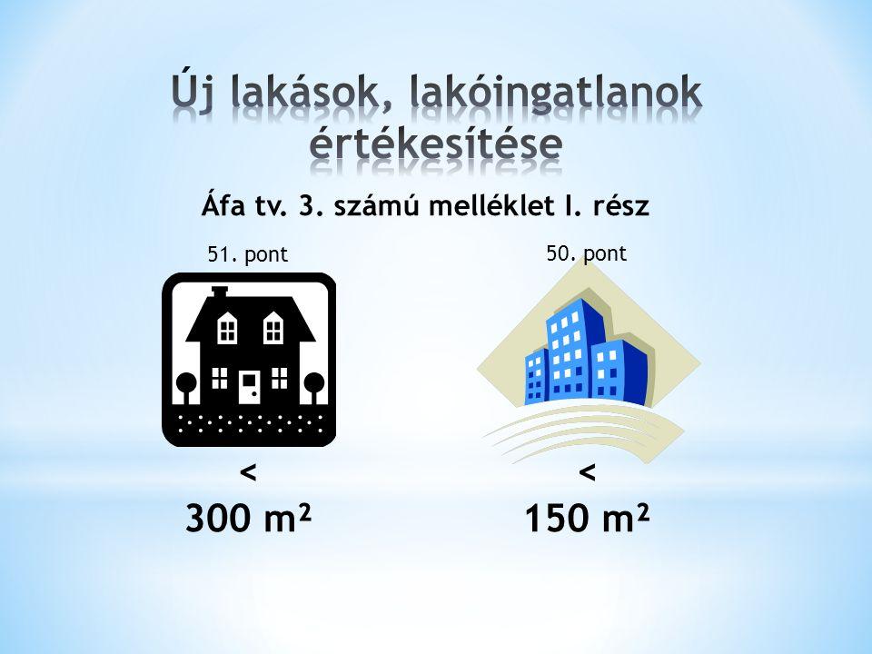Áfa tv. 3. számú melléklet I. rész < 300 m² < 150 m² 51. pont 50. pont