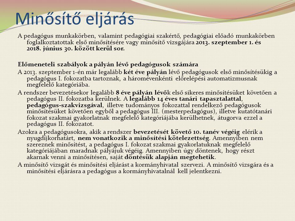 Minősítő eljárás A pedagógus munkakörben, valamint pedagógiai szakértő, pedagógiai előadó munkakörben foglalkoztatottak első minősítésére vagy minősítő vizsgájára 2013.