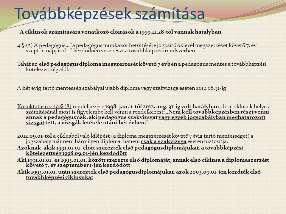 Továbbképzések számítása A ciklusok számítására vonatkozó előírások a 1999.12.28-tól vannak hatályban 4.§ (2) A pedagógus… a pedagógus munkakör betöltésére jogosító oklevél megszerzését követő 7.