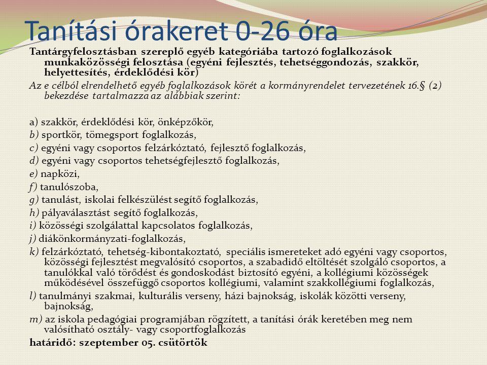 Tanítási órakeret 0-26 óra Tantárgyfelosztásban szereplő egyéb kategóriába tartozó foglalkozások munkaközösségi felosztása (egyéni fejlesztés, tehetséggondozás, szakkör, helyettesítés, érdeklődési kör) Az e célból elrendelhető egyéb foglalkozások körét a kormányrendelet tervezetének 16.§ (2) bekezdése tartalmazza az alábbiak szerint: a) szakkör, érdeklődési kör, önképzőkör, b) sportkör, tömegsport foglalkozás, c) egyéni vagy csoportos felzárkóztató, fejlesztő foglalkozás, d) egyéni vagy csoportos tehetségfejlesztő foglalkozás, e) napközi, f) tanulószoba, g) tanulást, iskolai felkészülést segítő foglalkozás, h) pályaválasztást segítő foglalkozás, i) közösségi szolgálattal kapcsolatos foglalkozás, j) diákönkormányzati-foglalkozás, k) felzárkóztató, tehetség-kibontakoztató, speciális ismereteket adó egyéni vagy csoportos, közösségi fejlesztést megvalósító csoportos, a szabadidő eltöltését szolgáló csoportos, a tanulókkal való törődést és gondoskodást biztosító egyéni, a kollégiumi közösségek működésével összefüggő csoportos kollégiumi, valamint szakkollégiumi foglalkozás, l) tanulmányi szakmai, kulturális verseny, házi bajnokság, iskolák közötti verseny, bajnokság, m) az iskola pedagógiai programjában rögzített, a tanítási órák keretében meg nem valósítható osztály- vagy csoportfoglalkozás határidő: szeptember 05.