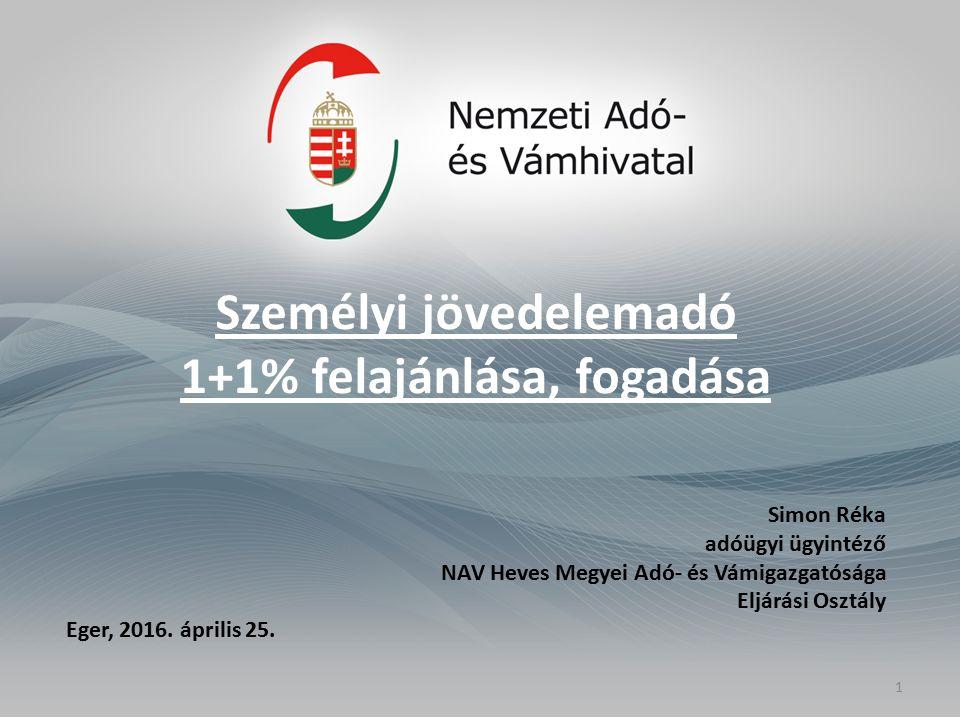 Személyi jövedelemadó 1+1% felajánlása, fogadása Simon Réka adóügyi ügyintéző NAV Heves Megyei Adó- és Vámigazgatósága Eljárási Osztály Eger, 2016. áp