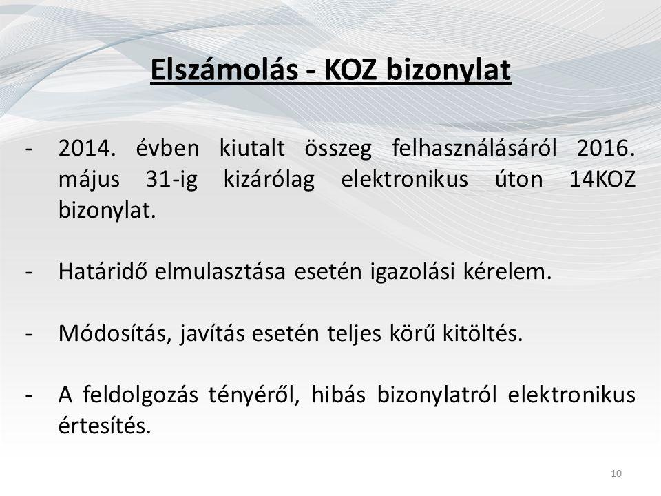 Elszámolás - KOZ bizonylat -2014. évben kiutalt összeg felhasználásáról 2016. május 31-ig kizárólag elektronikus úton 14KOZ bizonylat. -Határidő elmul