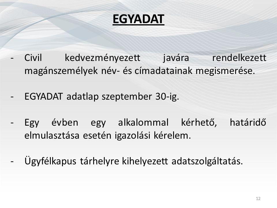 EGYADAT -Civil kedvezményezett javára rendelkezett magánszemélyek név- és címadatainak megismerése. -EGYADAT adatlap szeptember 30-ig. -Egy évben egy