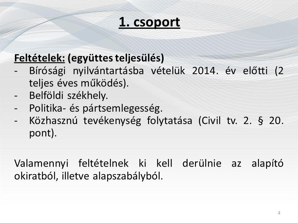 1. csoport Feltételek: (együttes teljesülés) -Bírósági nyilvántartásba vételük 2014. év előtti (2 teljes éves működés). -Belföldi székhely. -Politika-