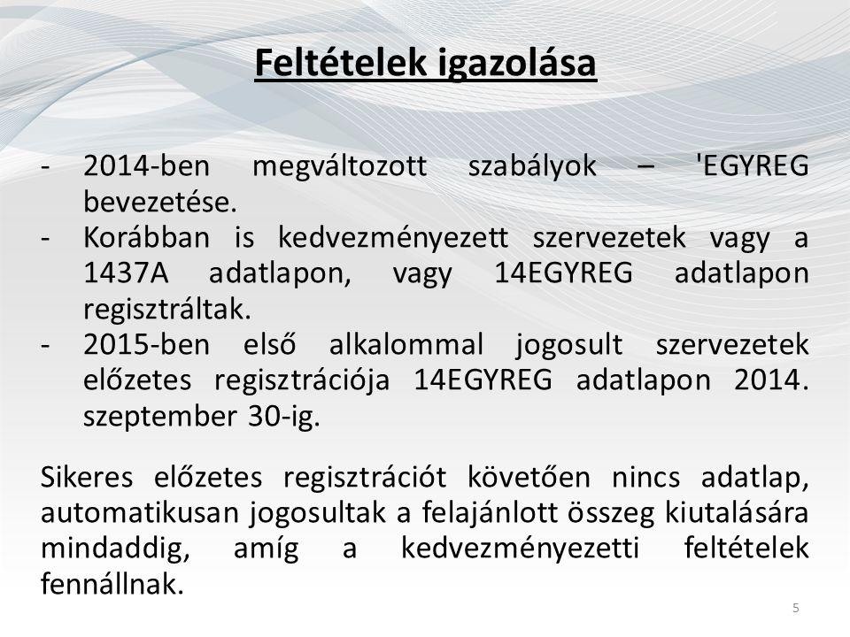 Feltételek igazolása -2014-ben megváltozott szabályok – 'EGYREG bevezetése. -Korábban is kedvezményezett szervezetek vagy a 1437A adatlapon, vagy 14EG