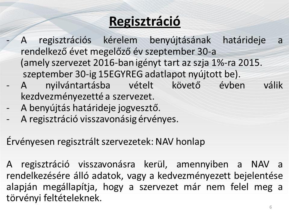 Regisztráció -A regisztrációs kérelem benyújtásának határideje a rendelkező évet megelőző év szeptember 30-a (amely szervezet 2016-ban igényt tart az szja 1%-ra 2015.