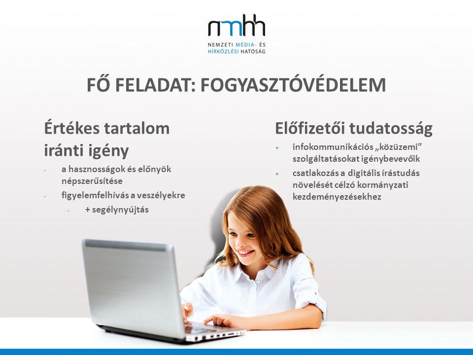 """FŐ FELADAT: FOGYASZTÓVÉDELEM Értékes tartalom iránti igény a hasznosságok és előnyök népszerűsítése figyelemfelhívás a veszélyekre + segélynyújtás Előfizetői tudatosság  infokommunikációs """"közüzemi szolgáltatásokat igénybevevőik  csatlakozás a digitális írástudás növelését célzó kormányzati kezdeményezésekhez"""