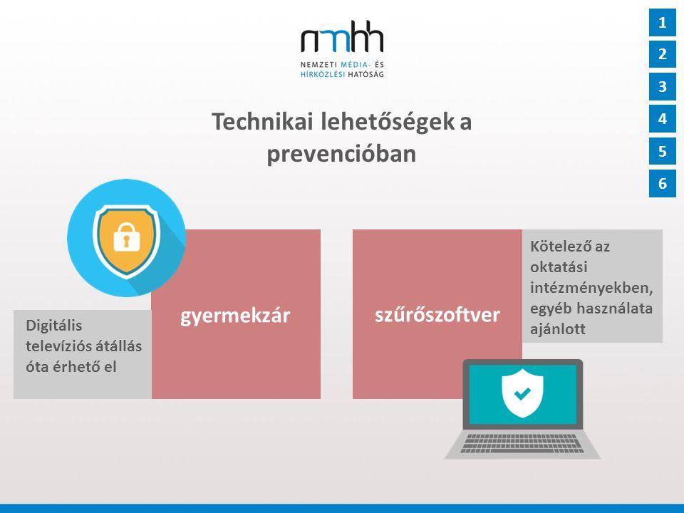 Technikai lehetőségek a prevencióban gyermekzár 1 szűrőszoftver 2 3 4 5 6 Digitális televíziós átállás óta érhető el Kötelező az oktatási intézményekben, egyéb használata ajánlott
