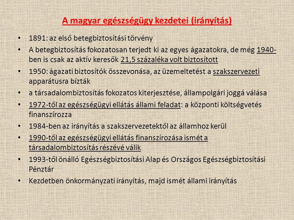 A magyar egészségügy kezdetei (irányítás) 1891: az első betegbiztosítási törvény A betegbiztosítás fokozatosan terjedt ki az egyes ágazatokra, de még
