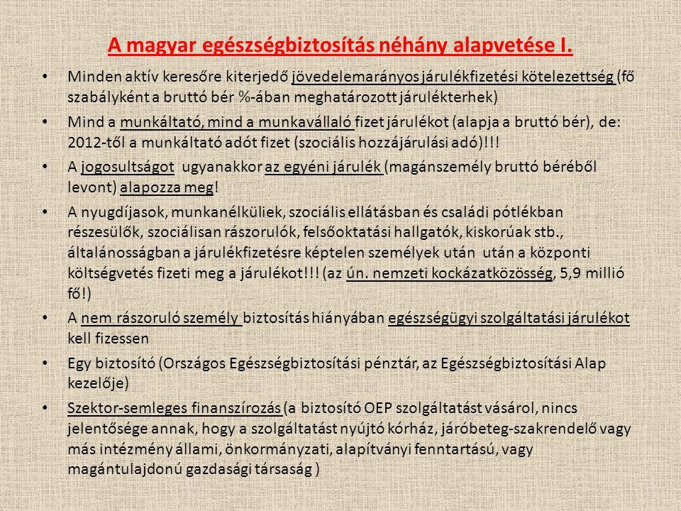 A magyar egészségbiztosítás néhány alapvetése I. Minden aktív keresőre kiterjedő jövedelemarányos járulékfizetési kötelezettség (fő szabályként a brut