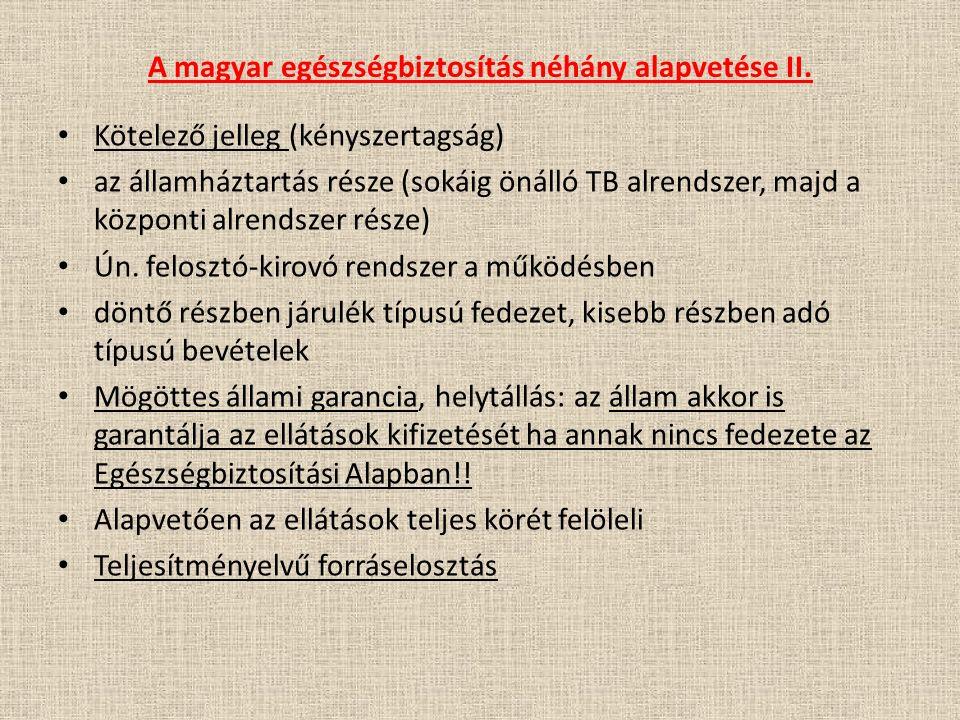A magyar egészségbiztosítás néhány alapvetése II.