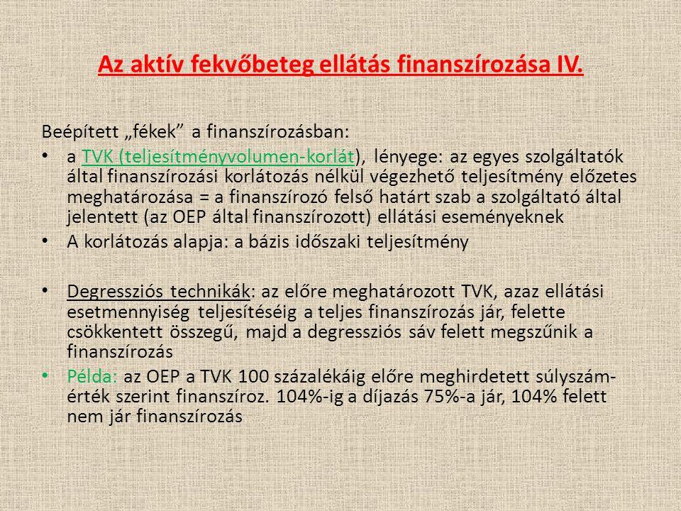 """Az aktív fekvőbeteg ellátás finanszírozása IV. Beépített """"fékek"""" a finanszírozásban: a TVK (teljesítményvolumen-korlát), lényege: az egyes szolgáltató"""