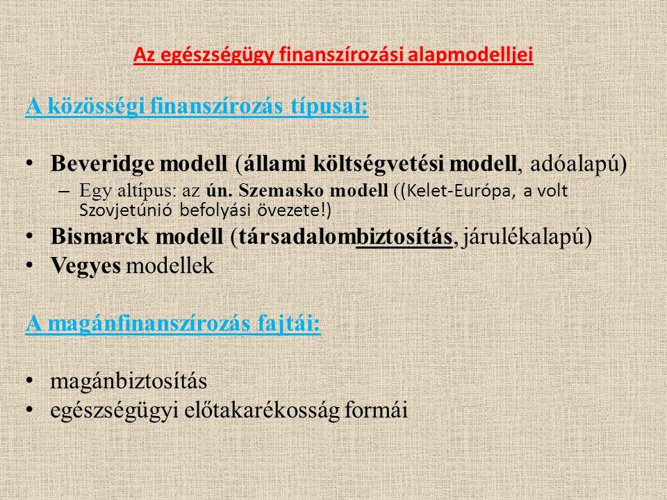Az egészségügy finanszírozási alapmodelljei A közösségi finanszírozás típusai: Beveridge modell (állami költségvetési modell, adóalapú) – Egy altípus: az ún.