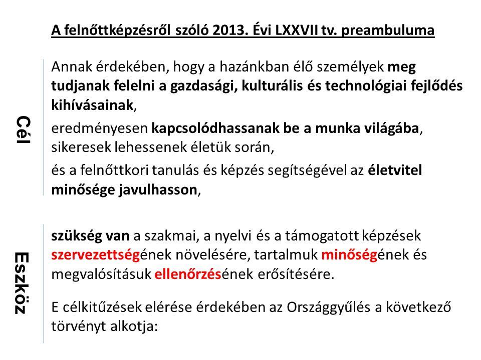 A felnőttképzésről szóló 2013. Évi LXXVII tv.