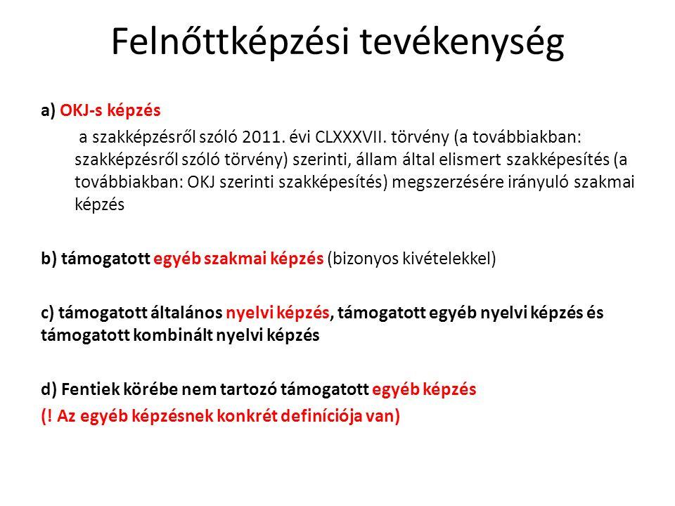 Felnőttképzési tevékenység a) OKJ-s képzés a szakképzésről szóló 2011.