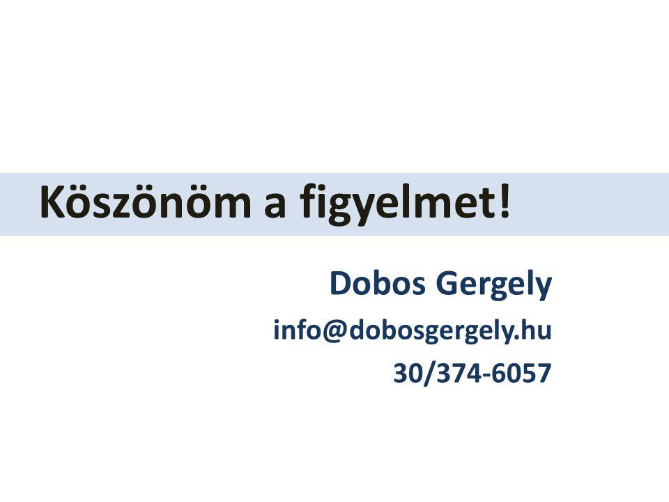 Dobos Gergely info@dobosgergely.hu 30/374-6057 Köszönöm a figyelmet!