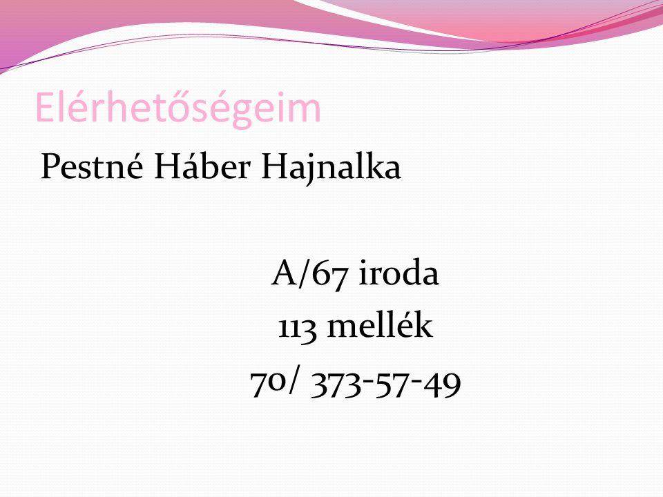 Elérhetőségeim Pestné Háber Hajnalka A/67 iroda 113 mellék 70/ 373-57-49