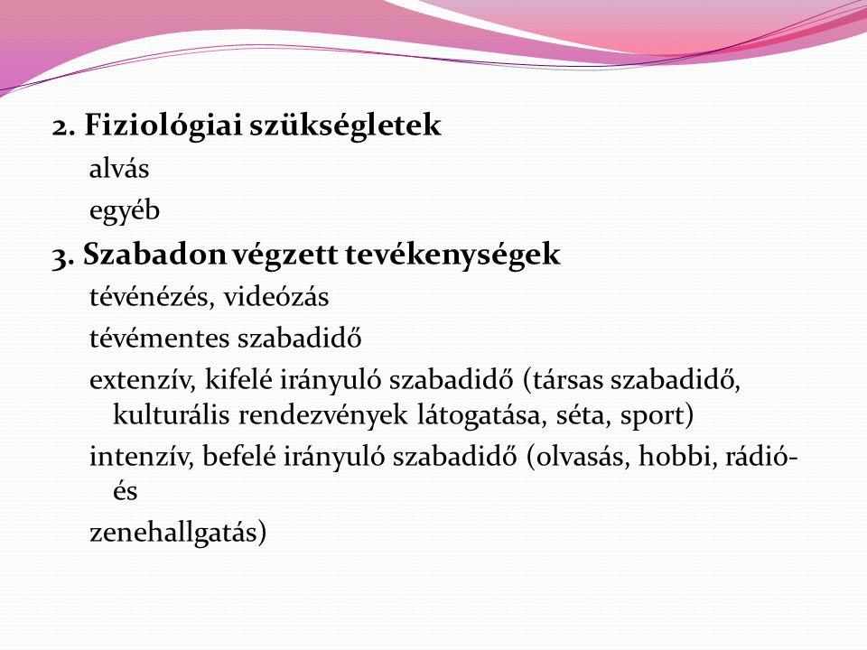 2. Fiziológiai szükségletek alvás egyéb 3. Szabadon végzett tevékenységek tévénézés, videózás tévémentes szabadidő extenzív, kifelé irányuló szabadidő