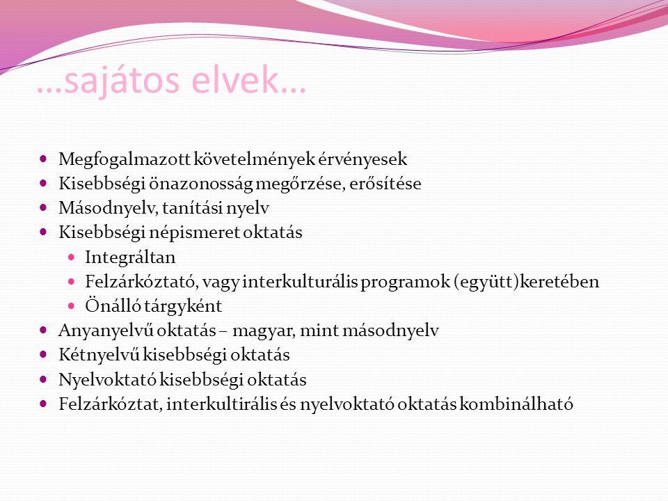 …sajátos elvek… Megfogalmazott követelmények érvényesek Kisebbségi önazonosság megőrzése, erősítése Másodnyelv, tanítási nyelv Kisebbségi népismeret o