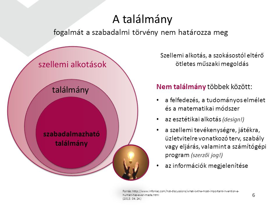A találmány fogalmát a szabadalmi törvény nem határozza meg Forrás: http://www.infoniac.com/hot-discussions/what-is-the-most-important-invention-a- human-has-ever-made.html (2013.