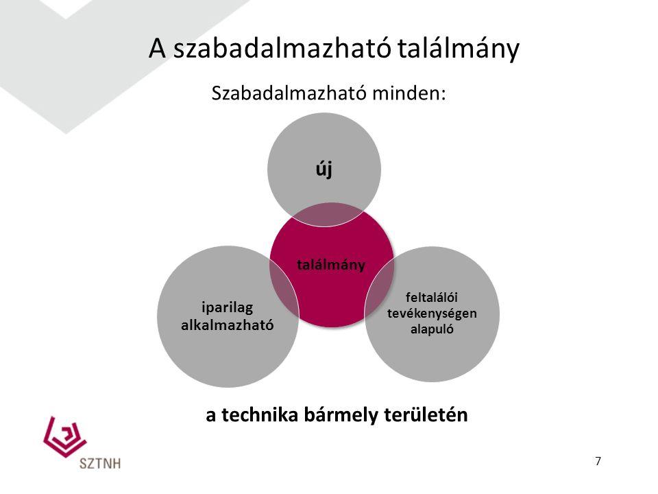 A szabadalmazható találmány Szabadalmazható minden: találmány feltalálói tevékenységen alapuló új iparilag alkalmazható a technika bármely területén 7